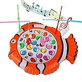 TONZE Angelspiel Musikspielzeug Pädagogische Spielzeug für Kinder Junge Mädchen ab 3 Jahren mit 21 Bunte Fisch und 4 Kinder Angelrute