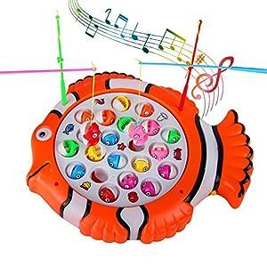 TONZE Juego de Pesca de Mesa Pescar Rotativo Peces Juguete de Pescar Giratorio Music Juguetes Educativos Regalos para Niños Niñas 3 4 5 Años