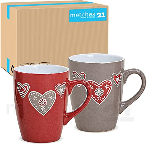 matches21 Bunte Becher Tassen Kaffeetassen Kaffeebecher Landhaus & Herzen 36 Stk. Karton Keramik je...