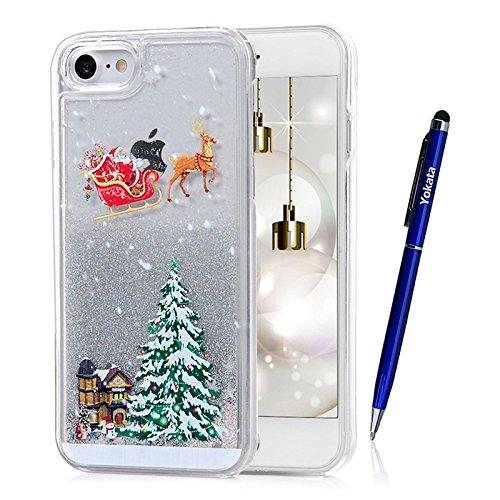 Coque iPhone 7, Yokata PC Hard Case Flash Liquide 3D Transparente Cover Arbre de Noël et Renne Motif Shell Bling Glitter Crystal Etui Housse de Protection Étui