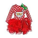 Hzjundasi Natale Bambini Ragazze Pigiama Gonna Vestito Bow Tie Pizzo Pigiami Vestito 3-8 anni Rosso Altezza 100cm