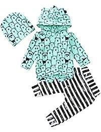 Ropa Bebe Niña, Lanskirt Conjunto de Blusa + Pantalones + Sombrero Bodies Bebe Manga Corta Elegante Monos Bebe de Manga Larga…