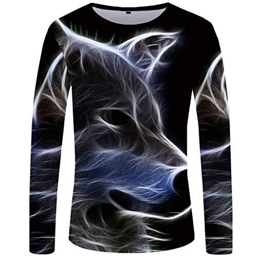 Beiläufige 3D Gedruckte Lange Hülsen Rundhalsausschnitt Mode Hemd Blusen Oberseiten Der Männer Lässiges Langarm T-Shirt Mit 3D Tierhundedruck