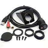 USB RCA Flush Mount Kabel- USB 3.0 & 3.5mm AUX 2 Cinch Stecker auf USB und 1/8 Audio Stereo Buchse Schalttafelmontage Erweiterung Code für Auto Bike Boat Motor (1 M)