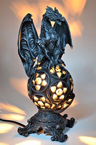 Drachen Lampe *32 cm* Tischlampe Fantasy Figur Dragon Lamp Deko