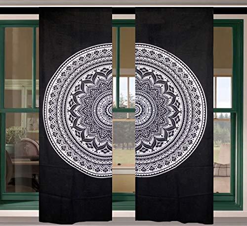 MetaDreams Mandala-Vorhänge mit Blumenmuster, Bohemian-Stil, Wandbehang Bedruckt, Boho-Baumwolle, Fenster, Tür, Balkon, Schlafzimmer Dekor und Wohnzimmer (2 Paneel-Set) - Stil Kinder Panel-bett