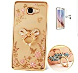 ISENPENK Samsung Galaxy S6 edge plus(2015)Ring Hülle,Ultra Slim Soft TPU Silikon Pattern Transparent Schutzhülle,3D Bling Glitzer Strass Durchsichtig Weichem Silicone Thin Handy Hülle,Butterfly Blume Kristall Diamant Glänzend Stoßdämpfend Spiegel Schutz Crystal Case Tasche Etui Bumper mit Diamant Ring Halter Ständer Standfunktion Wasserdicht Case für Samsung Galaxy S6 edge plus(2015) 5.7 Zoll-[bogen golden]+Panzerglas Folie/ Display foile/ Schutzfolie