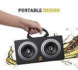 Hip Hop Inalámbrico Bluetooth Altavoz Portátil Bocina Bluetooth 8 Horas Tiempo de Juego Retro con SD MMC USB FM altoparlante Boombox Caja de Sonido Exterior Grande (Negro)