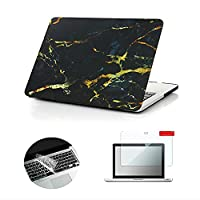 Macbook Pro 13 Case, Se7enline 3 in 1 bundle Hard Shell Print Frosted Black/ Gold Marble Pattern Rubber Coated Cover with Clear Silicone Keyboard Cover and Screen Protector for MacBook Pro Model:A1278