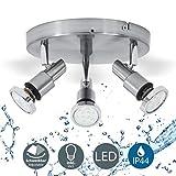 B.K.Licht plafonnier LED 3 spots orientables, plafonnier salle de bain, chrome, lumière blanche chaude, IP44, 230V, 3x5W, GU10...