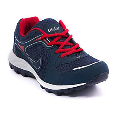 Asian Shoes Men's Navy Blue And Red Running Shoes - 6 Uk