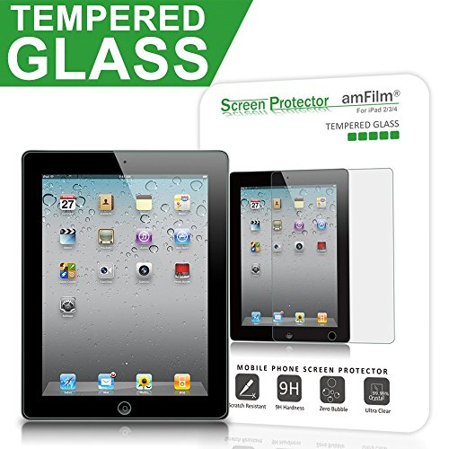 iPad 2, 3, 4Displayschutzfolie Glas, amfilm Glas Displayschutzfolie für Apple iPad 2, iPad 3und iPad 4, 0,33mm 2.5D round edge (1er Pack) Verizon Pack