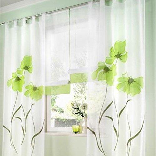 SIMPVALE 2 stücks Gardinenschal Gardine Print Blumen Vorhang für Wohnzimmer Schlafzimmer Schlaufenschal Breit 150cm (Hoehe 145cm, Grün)