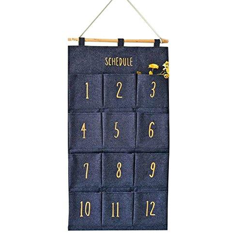 Tür Wand hängende Aufbewahrungsbeutel - Meedot Gadget Beutel Organisator Beutel Faltbare Wand-Taschen Hängende Wand Regal Organisator platzsparendes Geschenk 12 Taschen Blue