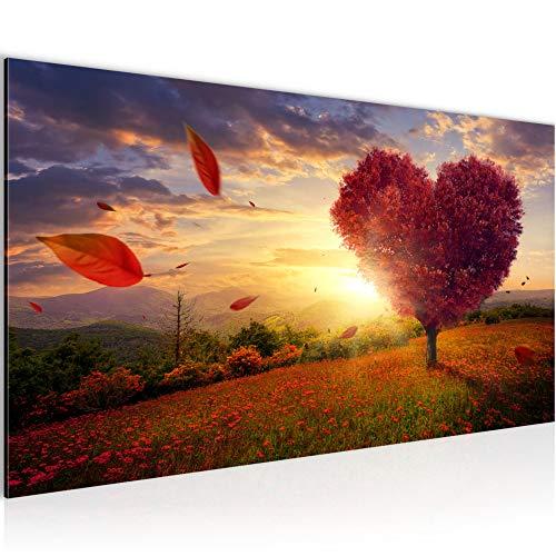 Bilder Herbst Baum Herz Wandbild 100 x 40 cm Vlies - Leinwand Bild XXL Format Wandbilder Wohnzimmer Wohnung Deko Kunstdrucke Rot 1 Teilig - Made IN Germany - Fertig zum Aufhängen 605812a -
