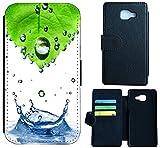 Huawei Nova Hülle Flip Cover Case Schutzhülle für das Nova von Huawei Design (1015 Abstract Grün Blau Weiß)