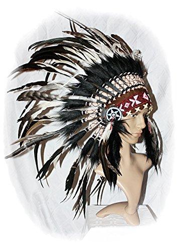 NEU Indianer Kopfschmuck Federhaube sehr EDEL echte Federn -