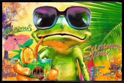 Frösche Poster und Kunststoff-Rahmen - Summer Time Frog, Michael Tarin (91 x 61cm)