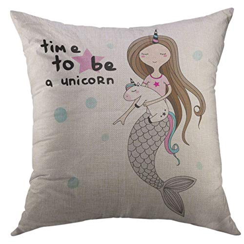 SKDJFBUD Pillow Cover Little Mermaid with Horn Plush Toy is Dreaming About Being Unicorn Girlish for Mugs Wall Text Time Home Decorative Square Throw Pillow Cushion Cover 18x18 Inch Pillowcase (Mermaid Die Little Abdeckung)