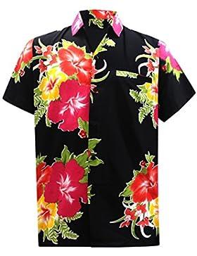 LA LEELA Shirt Camicia Hawaiana Uomo XS - 5XL Manica Corta Hawaii Tasca-Frontale Stampa Hawaiano Casuale Regular...