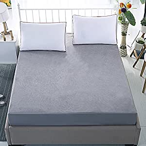 "Dream CareTM Waterproof Dustproof Terry Cotton Mattress Protector for King Size Bed - 72""x72"", Grey"