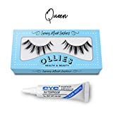 3D Artificial Hair False Eyelashes Natural Long Fluffy Thick Dramatic Volume Strip Band Eye Lashes Handmade Wispy Crosshair With Glue Adhesive (Queen)