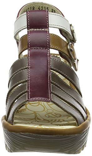 FLY LondonYGOR - Sandali Donna Multicolore (DK.GREY/CAMEL/MAGENTA/OFFWHITE 013)