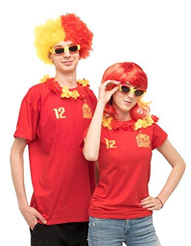 Spanische Pärchen Fussball Combi mit jeweils T-Shirt+ Brille+ Kette+ Hut/Perücke Mann Rot X-Large / -Frau Rot Medium/Perrücke