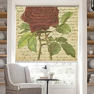 Mots Page Rétro avec motif fleurs rose fond Roller Shade Stores