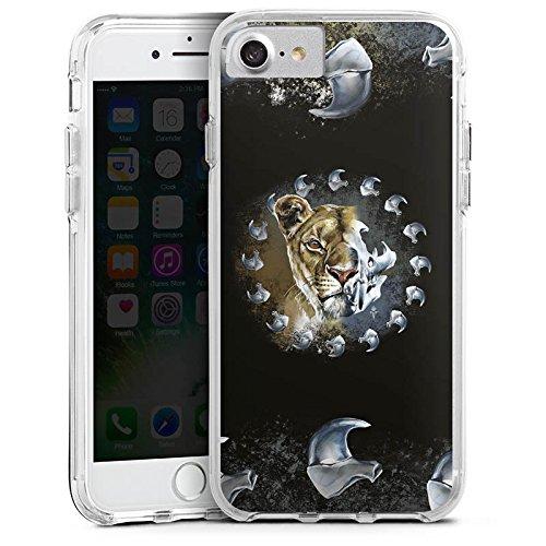 Apple iPhone 8 Bumper Hülle Bumper Case Glitzer Hülle Puma Lion Raubkatze Bumper Case transparent