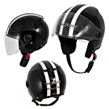 A-Pro Motorradhelm Motorrad Roller Offenes Jet Helm Viser ECE 22 05 Schwarz S