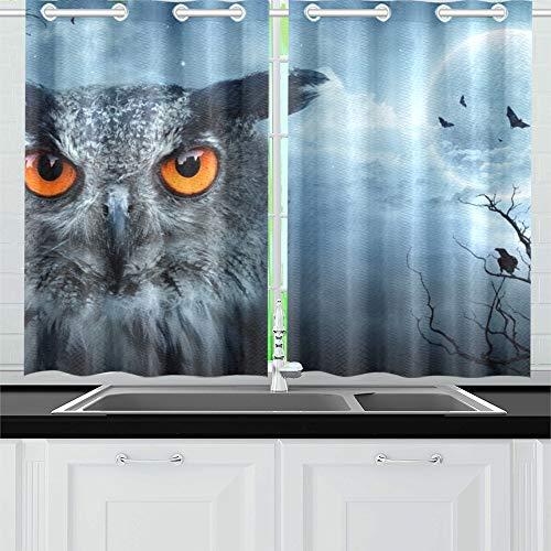 onlight Spooky Forest Dark Küchenvorhänge Fenstervorhangebenen für Café, Bad, Wäscherei, Wohnzimmer Schlafzimmer 26 X 39 Zoll 2 Stück ()