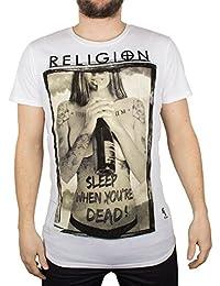 Religion Homme Sleep When Your Dead Crew Neck T-Shirt, Blanc
