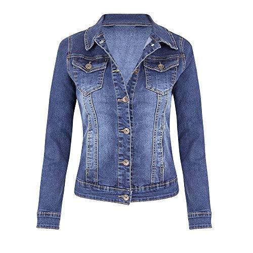 Damen Tasche Jeansjacke, LeeMon Women Mantel lässig Langarm Tasche Knopf Denim Jacke Mantel Classic Satin Mantel