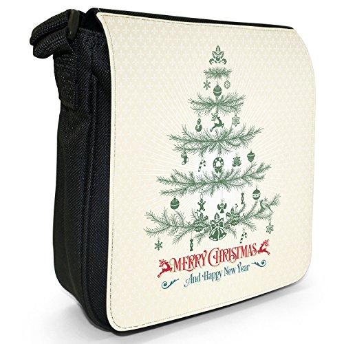Elegante Vintage-Weihnachtsgrüße Kleine Schultertasche aus schwarzem Canvas Kiefer Merry Christmas