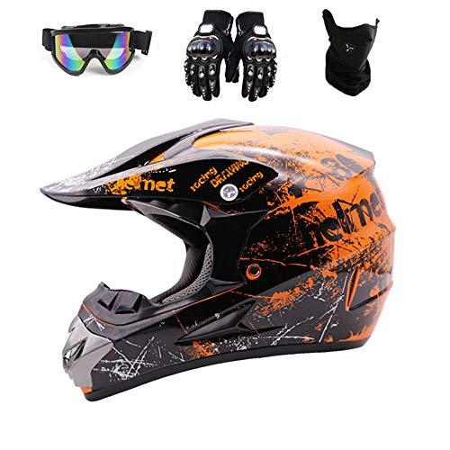 Motocross Helm Set (Brille/Handschuhe/Maske, 4 Teile) Kinder Integralhelm Motorrad Crash MTB Helme ATV Für Jugendliche Männer Frauen Kinder,Orange,L59~60