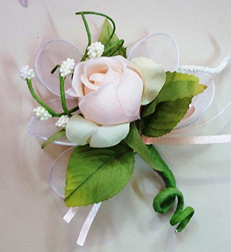 Set 12 pezzi, bomboniera fiore bouquet bocciolo + racchettine portaconfetti, confetti e bigliettini inclusi (ck2021bis) (pesca)