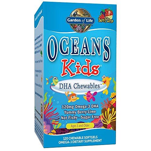 Garden of Life Oceans Kids DHA Chewables - 120 Softgels I Kautabletten I Kinder I DHA I EPA I Omega 3 I Omega 9 I Beeren-Limettengeschmack -