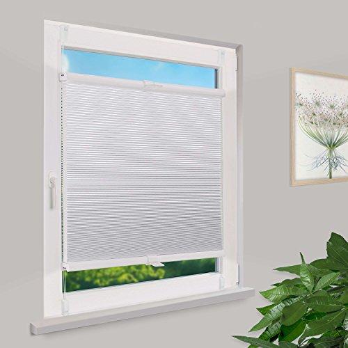 Fensterdecor Klemmfix Waben-Plissee Sichtschutz mit Spannfeder / Weiß 40 x 130 cm (BxH)