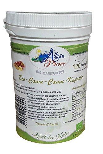 Allgäu Power Bio-Superfood-Vegi-Camu-Camu-Kapseln 120 Stück 600 Mg. 12 % an natürlichem Vitamin C - KEINE FÜLLSTOFFE