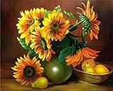 Wowdecor DIY Malen nach Zahlen Kits Geschenk für Erwachsene Kinder, Malen nach Zahlen Home Haus Dekor - Sonnenblume Birnen 40 x 50 cm Ohne Rahmen