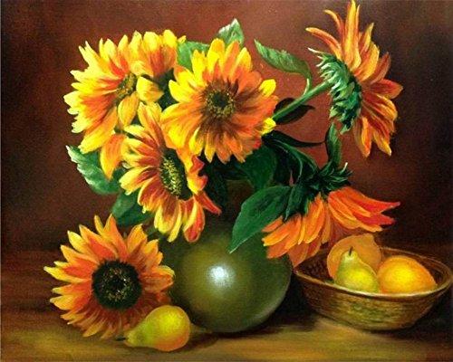 Wowdecor DIY Malen nach Zahlen Kits Geschenk für Erwachsene Kinder, Malen nach Zahlen Home Haus Dekor - Sonnenblume Birnen 40 x 50 cm Ohne Rahmen -