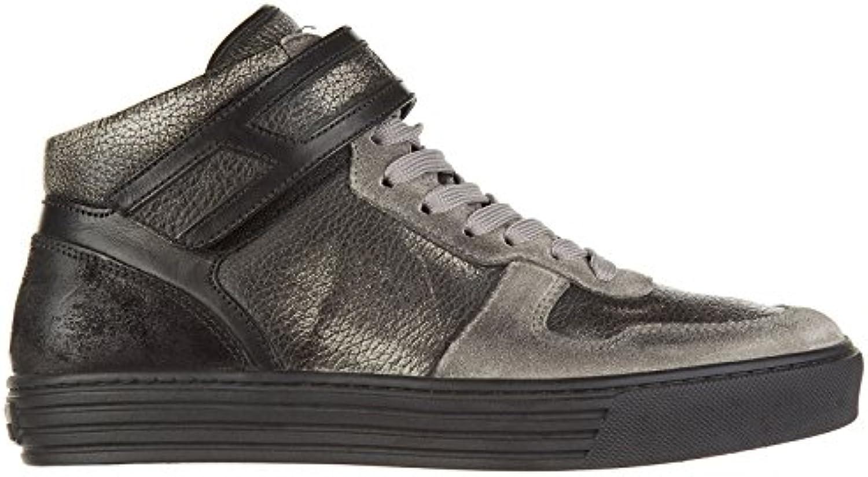 Hogan Rebel Zapatos Zapatillas de Deporte largas Hombres en Piel Nuevo r206 Gris