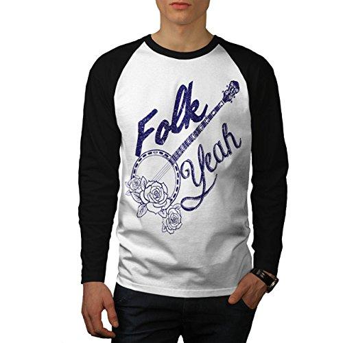 Volk Land Lied Musik Banjo Rose Männer L Baseball LS T-shirt | Wellcoda (Land-baseball-jersey)