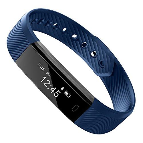 VIMOER Smart-Armband Bluetooth Schrittzähler Armband Schlafmonitor Gesundheit Fitness Tracker Smart Watch (mit Herzfrequenzmesser), blau, 240 x 16 x 10 mm