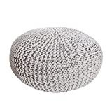 Invicta Interior Design Strick Pouf Leeds XXL weiß 70cm Hocker Baumwolle in Handarbeit Strick Garn Sitzgelegenheit Fußhocker Sitzpouf Gepolstert Sitzkissen