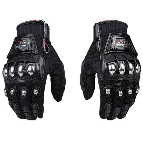 xiujun Stahl Outdoor verstärkte Messing Knöchel Motorrad POWERSPORTS Racing Textil Sicherheit Handschuhe, Schwarz , M