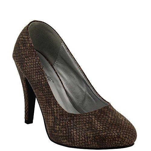 Party High Heel im Snake-Look mit Plateau und Stiletto in Beige, Schwarz, Braun, Grau Damenschuh V1074 Braun