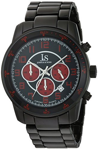 Joshua & Sons Men's JS67RD Analog Display Japanese Quartz Black Watch