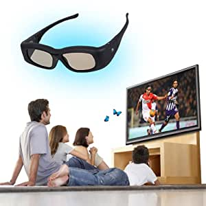 Super Universel Lunettes 3D Active obturateurs pour 3D TV-IR&Bluetooth-Idéal pour 3D TV de Panasonic Sony Sharp Samsung LG Toshiba, etc-noir